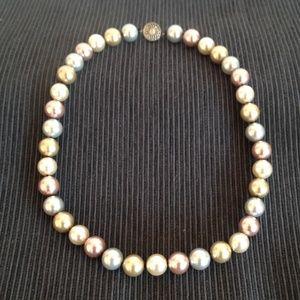 multi color glass pearl necklace w/silver closure